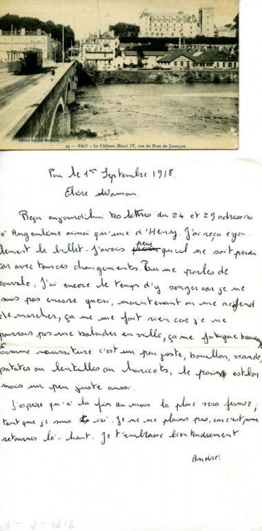 Conval. à PAU, gazé, blessé grièvement.4ième bat.de CHAMPAGNE 1917-18